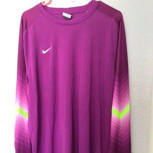 Nike long sleeve soccer shirt pink and green rare!